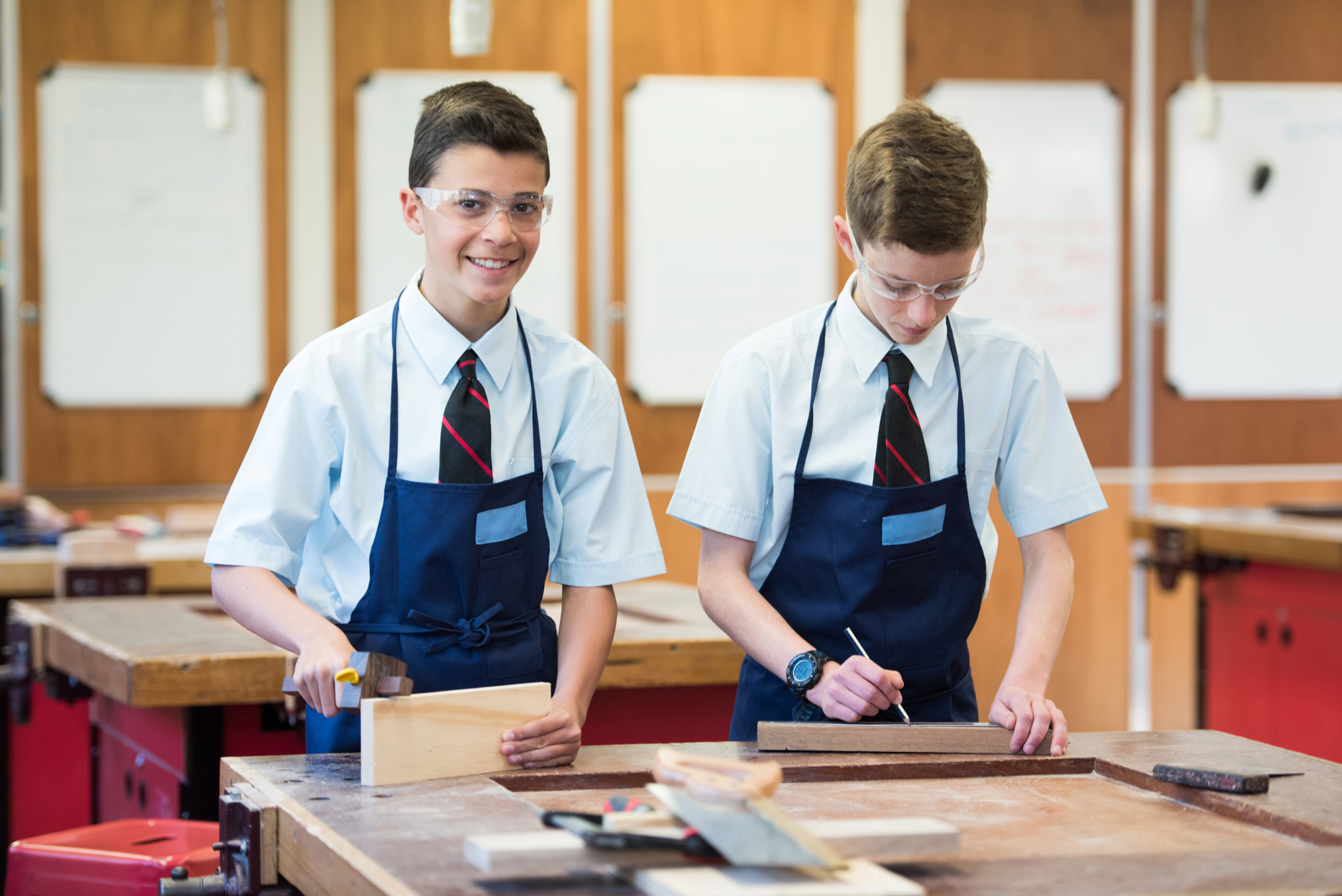Students complete a woodworking project